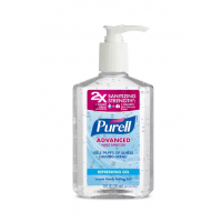 Waterless hand sanitizer Gel with 75% Alcohol, and Carbomer, Water, Glycerin. 237ml. Pack of 24 Units.